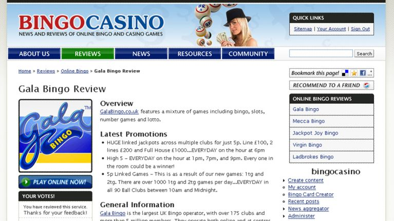 Bingo Casino website design